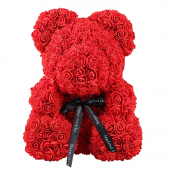 Foam plush, with artificial red roses, 25cm.